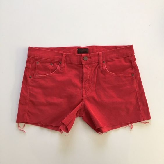 Mother shorts Mother SNS frayed corduroy shorts. Cut like jeans with 5-pocket styling. Color is dye cherry. Size 26. NEW WITHOUT TAGS. MOTHER Shorts