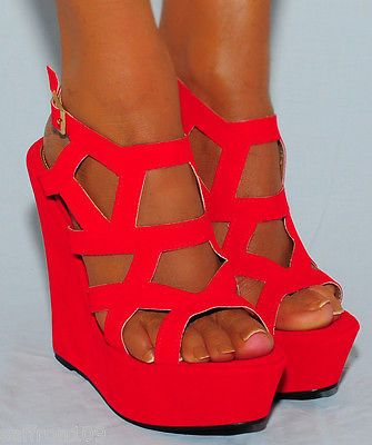 Details about LADIES BRIGHT RED CUTOUT SUEDE WEDGES WEDGES SUMMER ...