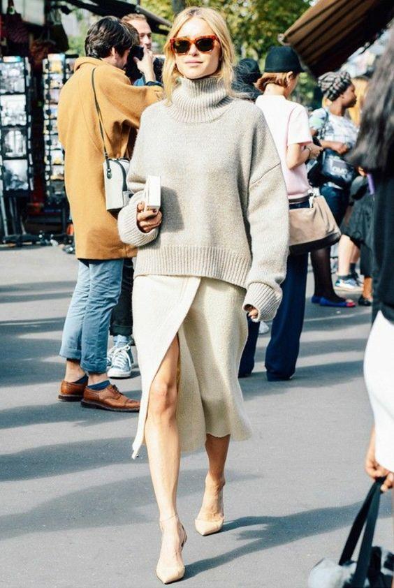 jupe portefeuille, un outfit simple et élégant et chaussures à bouts pointus