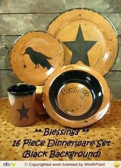Country Primitive Dishes - Star Vine Dinnerware - Country Decor Primitive Decor Bedding Braided Rugs | Country Kitchen | Pinterest | Primitives ... & Country Primitive Dishes - Star Vine Dinnerware - Country Decor ...