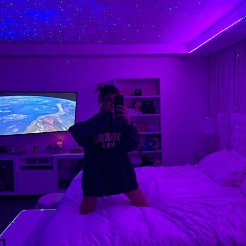 Madison Beer Madisonbeer Bedroom Aesthetic Led Light Purple Space Room Decor Home Room Goals Neon Room Decor Neon Room Neon Bedroom