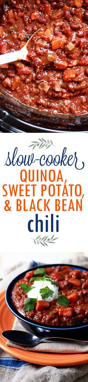 Slow Cooker Quinoa, Sweet Potato, & Black Bean Chili - a protein-rich (and very tasty!) vegetarian chili recipe. Just dump it in the Crock Pot in the morning and dinner's made.: