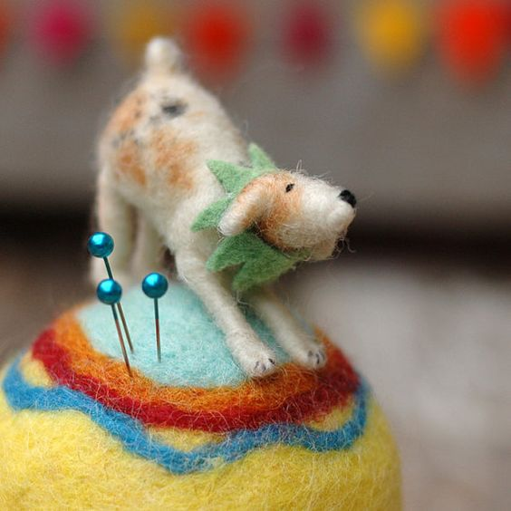 Circus Dog at Play  Needle Felted Pincushion by BossysFeltworks,