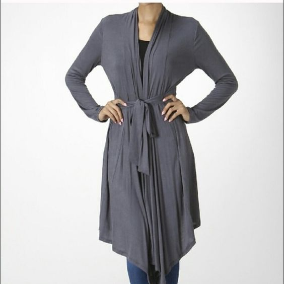 PERFECT CLASSIC JACKET The perfect mid-length jacket in a gorgeous grey. An instant classic in anyone's wardrobe. Great quality, and ties at the waist. Perfection. 95% Rayon 5% Spandex Runs true to size. THIS LISTING IS AVAILABLE TO PURCHASE TRADES Bellino Clothing Jackets & Coats