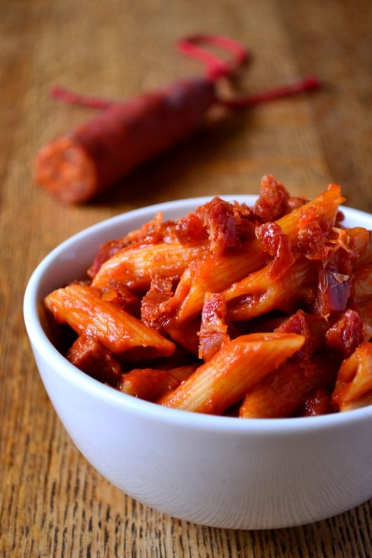 Spicy Chorizo and Tomato Pasta by frugalfeeding #Pasta #Chorizo #Tomato #frugalfeeding