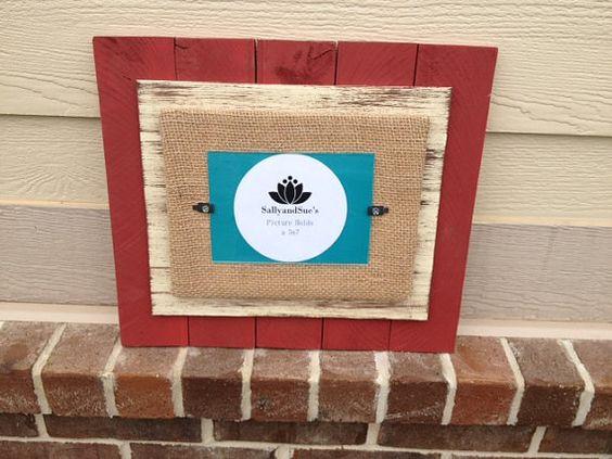 Red / CreamBrown Distress Mat Wood Frame  5.7 by SallyandSues, $38.00
