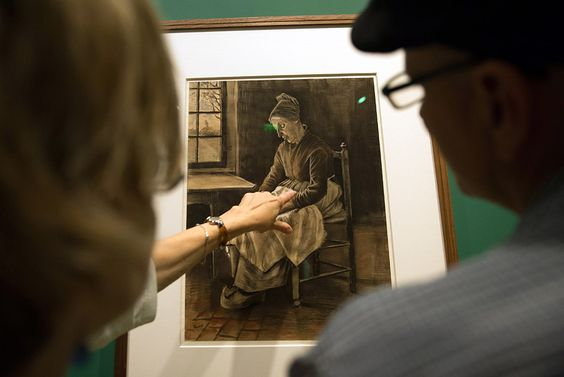 'Woman Sewing, Etten, 1881' by Dutch artist Vincent Van Gogh during the 'Van Gogh Drawings: Influence and Innovations' at the Fondation Van Gogh in Arles, southern France, on June 12, 2015
