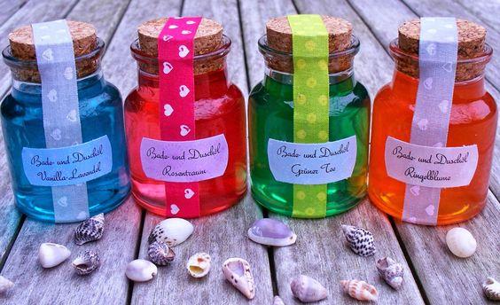 Seifenliebe...rostet nicht ♥: Badeöl/Duschöl mit Farbe selber machen