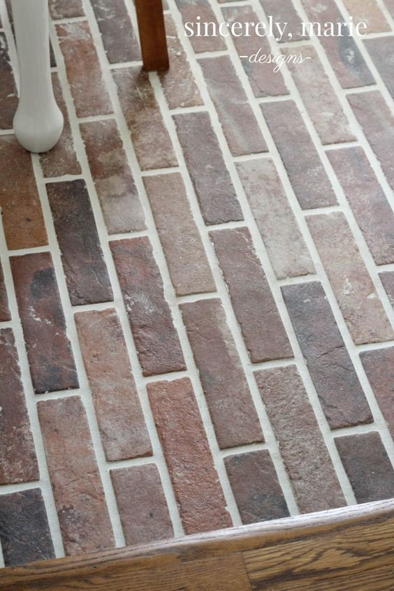 DIY Faux Brick Flooring - Sincerely, Marie Designs #brickfloors #fauxbrick #diyfloors