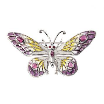 Plique-a-Jour Enamel, Rhodonite, Ruby and Silver Butterfly brooch. Comes w/ a detachable pendant loop.