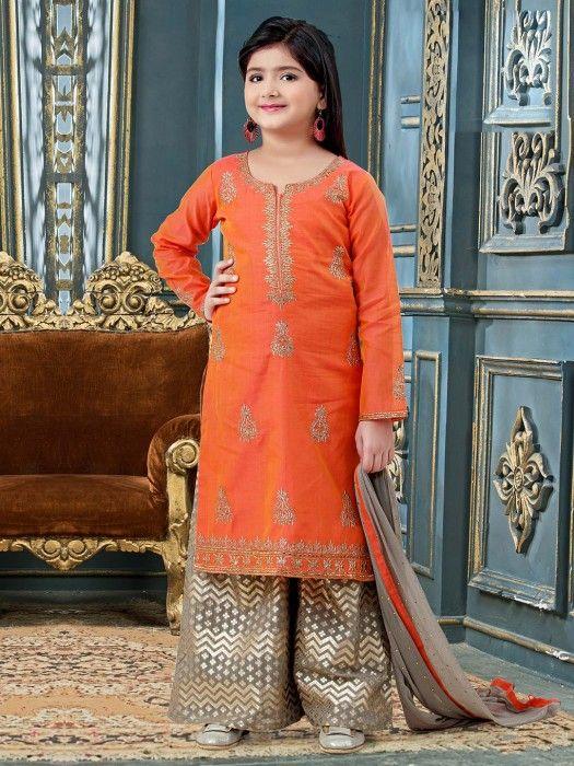 Cotton Silk Orange Color Designer Palazzo Suit Designer