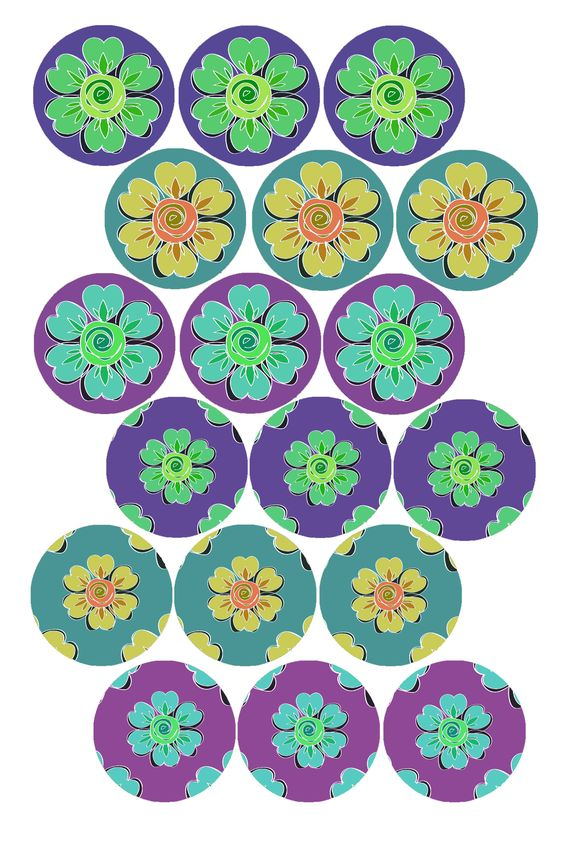 "Wallpaper Flowers #2 Bottle cap image pack Formatted for printing on 4"" x 6"" photo paper"
