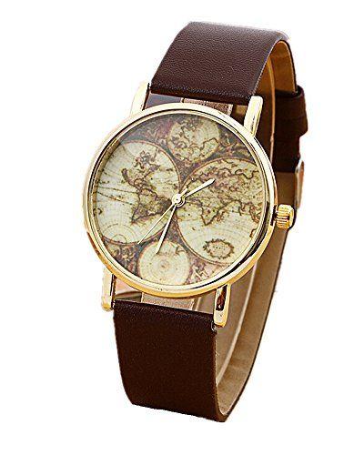 SAMGU Fashion Damen Weltkarte Leder Band analoge Quarz Armbanduhr Uhren - http://uhr.haus/samgu/samgu-fashion-damen-weltkarte-leder-band-analoge