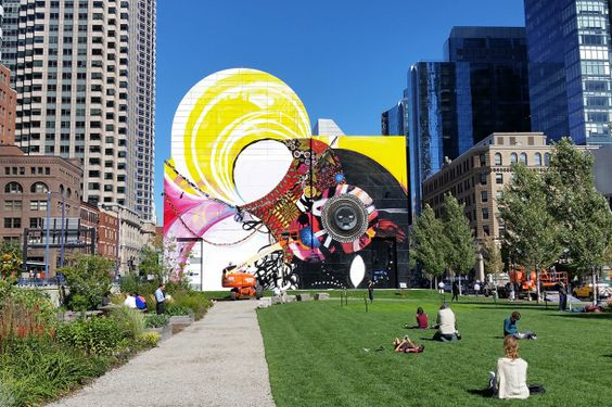 Shinique Smith painted by Overall Murals in Boston's Dewey Square