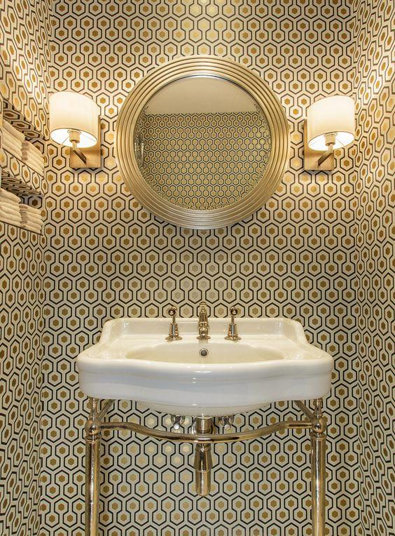 "#- #-vbn!"" #-trerzt!"" #-zuit!"" #-# #-´ #-# #- Cole & Son David Hicks wallpaper + Catchpole & Rye basin by Amber Design Group"