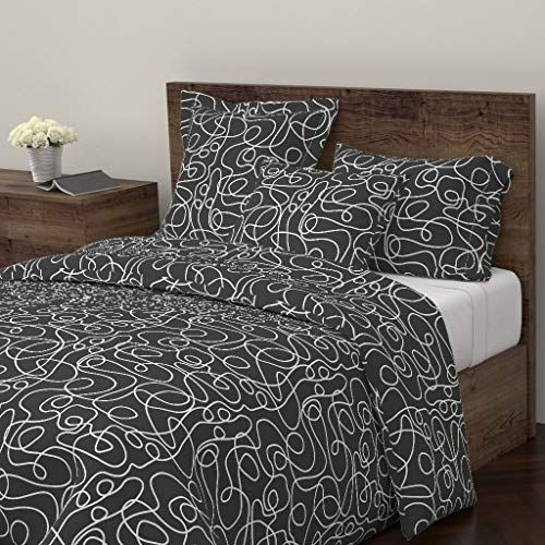 Roostery Abstract Lines Duvet Cover White Lines Seamless Pattern Simple Pattern Doodled Black And White Ur White Duvet Covers Duvet Covers Twin Simple Patterns