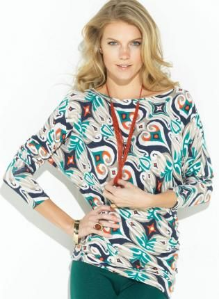Ikat Patterned Dolman Top with 3/4 Length Banded Sleeves and,  Top, dolman  banded sleeves  high neckline  patterned, Chic
