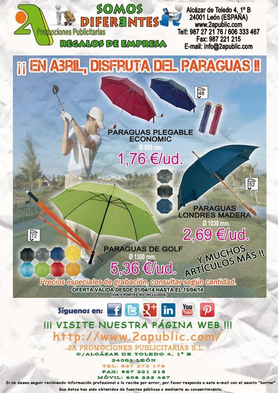 ¡¡¡ 2A - Oferta quincenal PARAGUAS !!!.  Desde el Paraguas de Golf hasta el clásico Paraguas plegables a precio increíble hasta el 15 de Abril. Posibilidad de personalización en los gajos.  NO se requieren cantidades mínimas.  Para más información y solicitud de presupuestos, sin ningún tipo de compromiso, no dude en contactarnos.  #regalosdeempresa #leonesp #bierzo #comunicacion #merchandising #paraguas #golf #umbrella