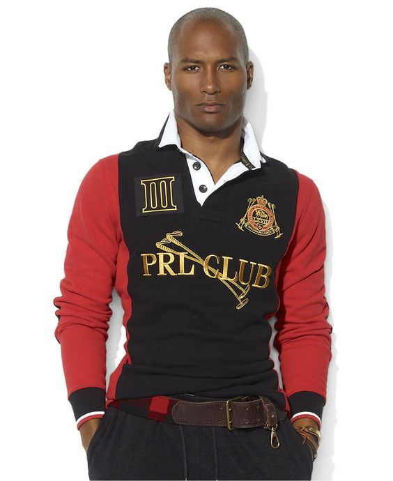 Polo ralph lauren shirt custom fit prl club fleece rugby for Polo shirt with jacket