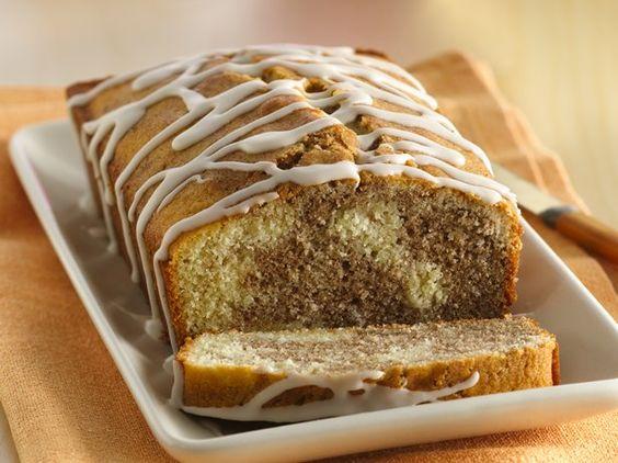 Cinnamon Roll Pound Cake With Vanilla Drizzle