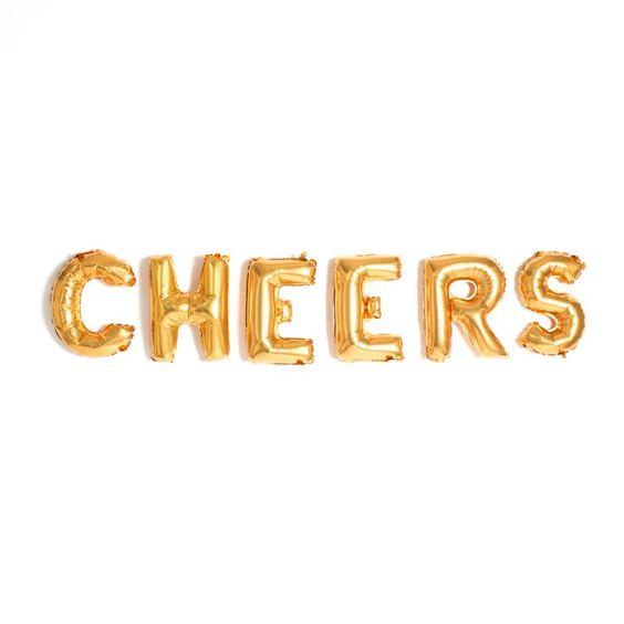 CHEERS! Gold Mylar Balloons