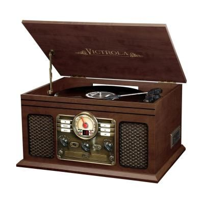 6-in-1 Nostalgic Bluetooth Record Player with 3-Speed Turntable in Espresso