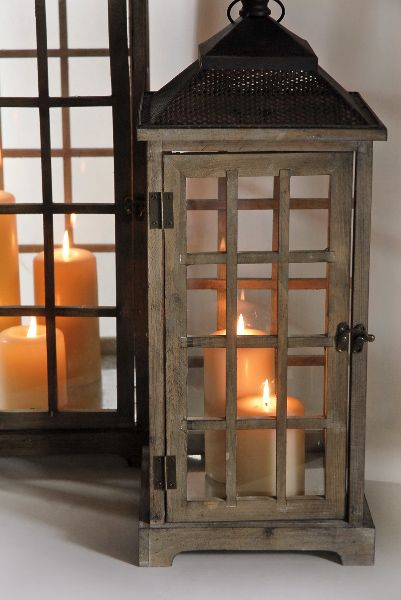 Lanterns set of and wooden lanterns on pinterest for Large outdoor christmas candles