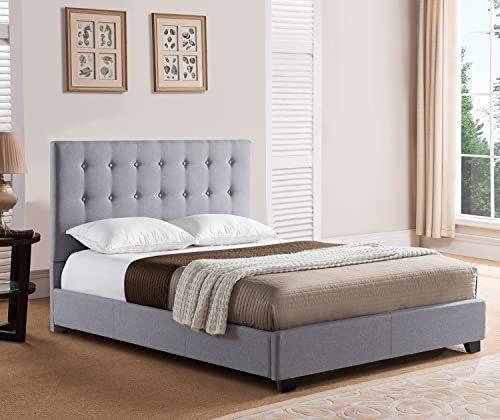 The Mantua Sebright Upholstered Platform Bed King Grey Online
