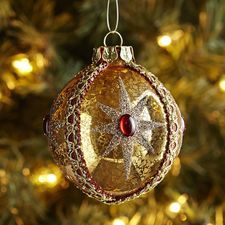 Jeweled Braid Antique Glass Ornament