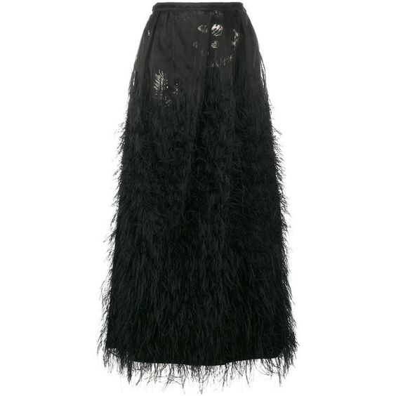 Dries Van Noten Dries Van Noten Double Layered Skirt With Feather... ($1,719) ❤ liked on Polyvore featuring skirts, black, layered skirt, double layer skirt, dries van noten, overlay skirt and dries van noten skirt