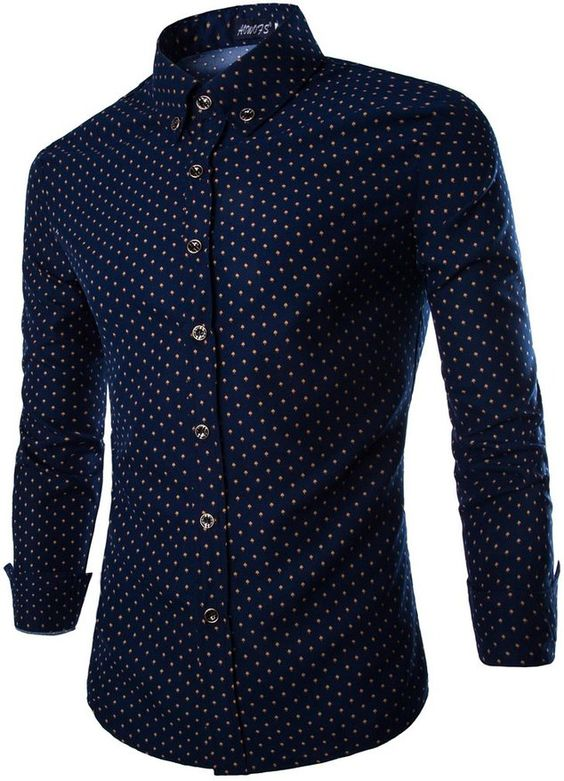 OCIA Men&39s Tiny Mushroom Luxury Patterned Dress Shirts Navy Blue ...
