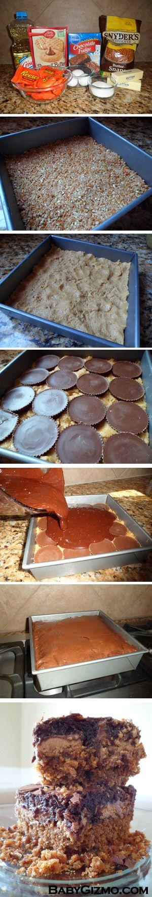 Ultimate Pretzel Crusted Peanut Butter Cookie Candy Brownie Bars: Pretzel Brownie, Candy Brownie, Pretzel Dessert, Pretzel Cookie