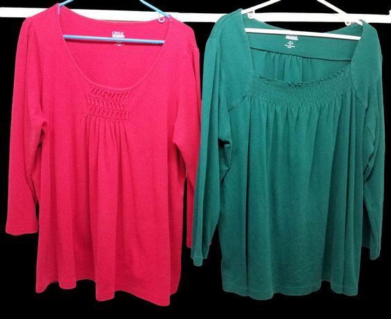 Only Necessities Lot Of 2 Red & Green Long Sleeve Blouses XL Extra Large EUC