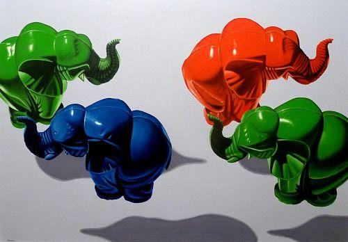 """Valentin Reimann, """"Vier Elefanten"""" 100x70cm Öl auf Leinwand"""