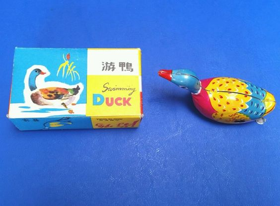 #Windup Swimming #TinDuck #Litho #Toy Original Box Made in China #Vintage New OS