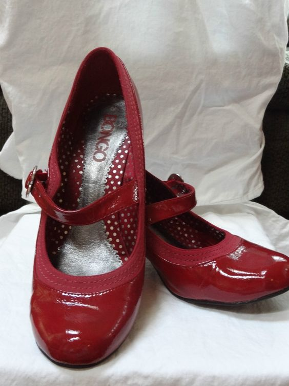 Red Bongo Mary Jane Rockabilly Pinup Kitten Heel W/ Heart Strap ...