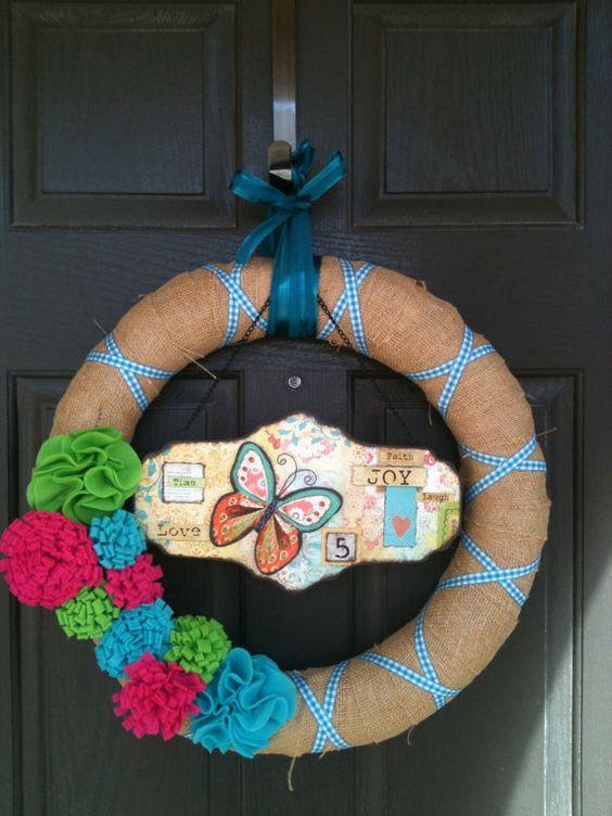 Spring/Summer Butterfly Flower Burlap Wreath by PolkadotsOriginal