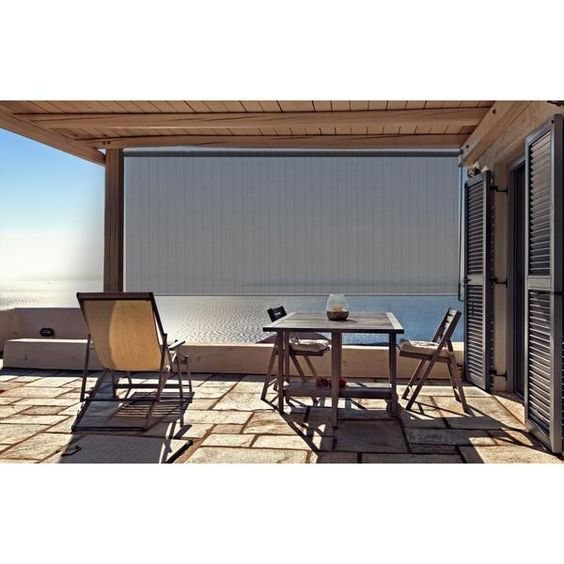 Outdoor Sunshade with Crank in Stone Finish - Overstock™ Shopping - Great Deals on Blinds & Shades