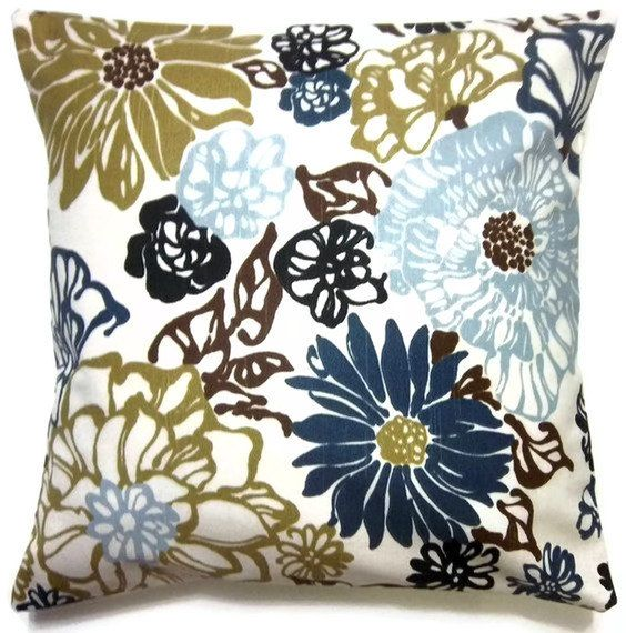 Two Blue Olive Green White Brown Pillow by LynnesThisandThat, $30.00