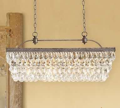 Clarissa glass drop extra long rectangular chandelier for Long dining table lighting