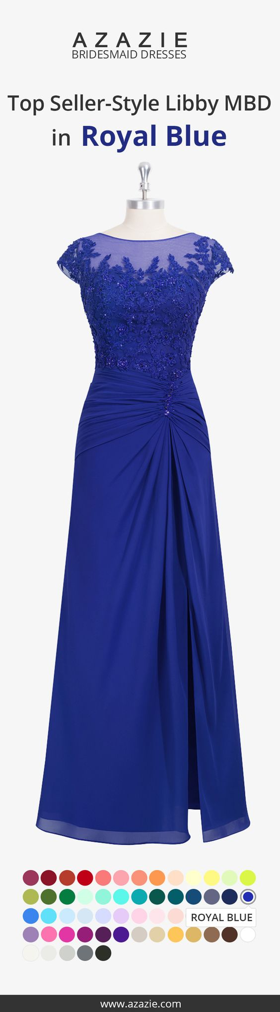 Libby MBD is our floor-length dress in an A-line cut. It features an illusion neckline with sleeves and a lace overlay. It also has a side slit at the front of a shirred skirt with decorative applique on the bodice. Available in full size range (A0-A30) and custom sizing.