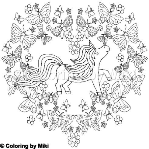 Unicorn With Butterflies Coloring Page 341 Flower Drawing