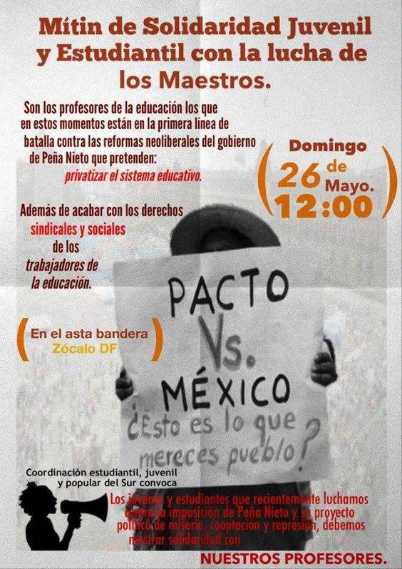 Apoyo al planton de Maestros Vs la Reforma educativa. Mexico