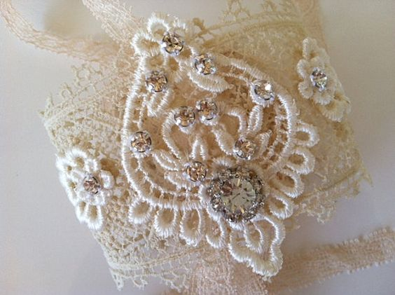 Delicate Vintage Lace Rhinestone Bridal Cuff by StunningByDesign,