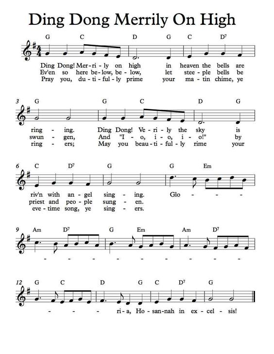 Free Sheet Music - Free Lead Sheet - Ding Dong Merrily On ...