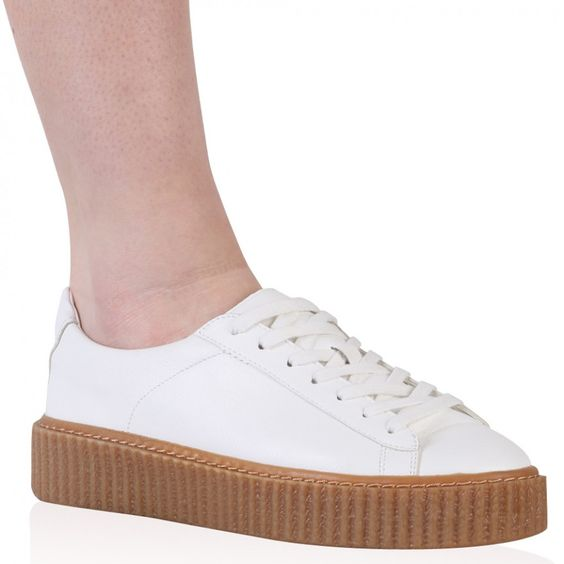 Yinka Creepers In White and Gum Sole