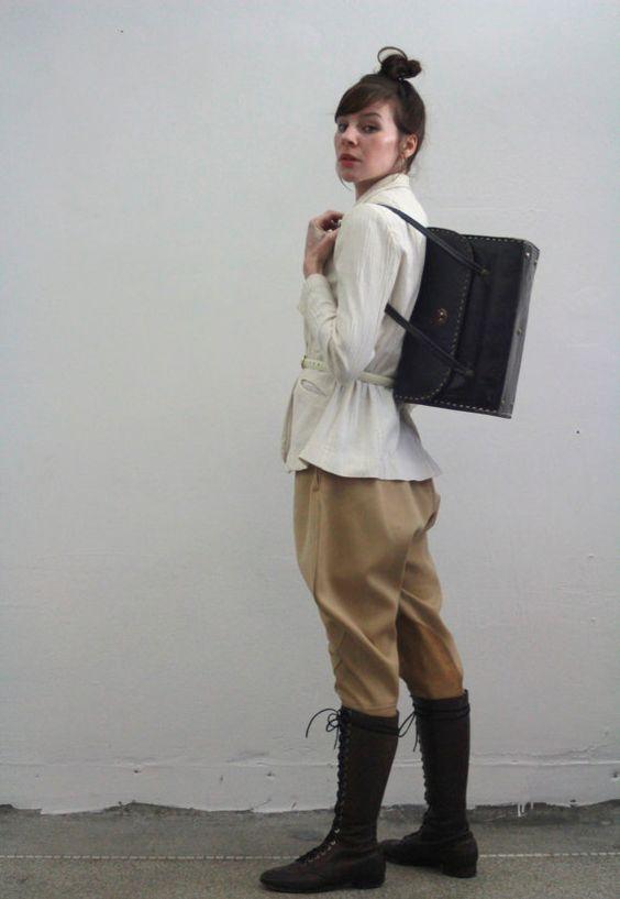 Vintage Leather Riding Case  Large Black Box  Tote by VeraVague, $140.00