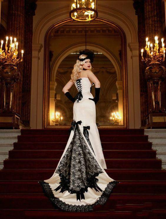 gorgeous Gothic Mermaid Lace Wedding Dress White Black Sweep Train Bride Gown Custom