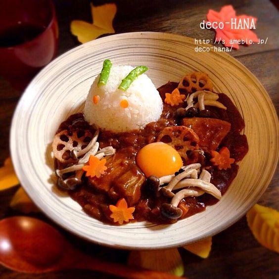 さとみ  satomi decofood's dish photo 秋のお疲れデコカレー | http://snapdish.co #SnapDish #お月見 #カレーライス #離乳食/幼児食 #晩ご飯 #お昼ご飯