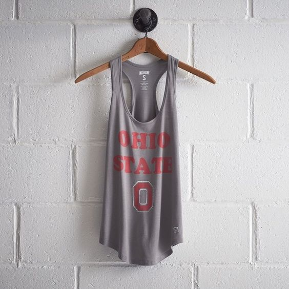 Tailgate Graphic Tank (38 CAD) ❤ liked on Polyvore featuring tops, grey, grey racerback tank, racer back tank, gray racerback tank, vintage tank and grey tank top
